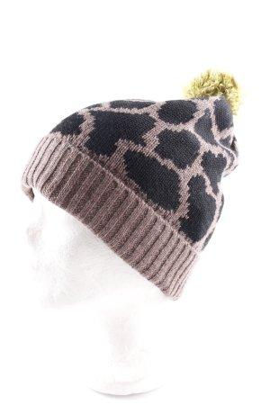 Sombrero de punto estampado de animales look casual