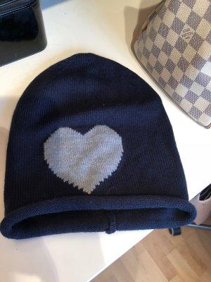 Strickmütze Blau mit Herz