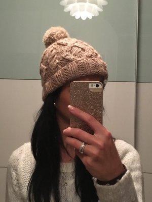 Strickmütze H&M beige Bommel