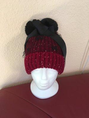 Chapeau en tricot rouge foncé-noir