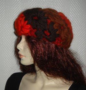 Strickmütze Mütze Häkel Kappe Hut Blüten orange braun bordeaux ONE SIZE XS S M L