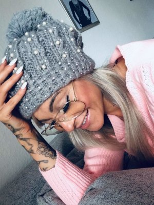 Knitted Hat grey-silver-colored
