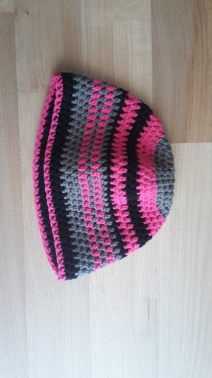 Strickmütze pink/grau/schwarz