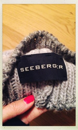 Seeberger Knitted Hat light grey-anthracite mixture fibre