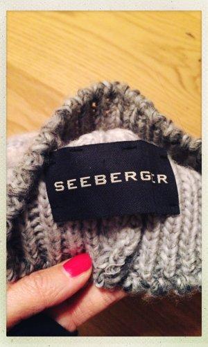 Seeberger Sombrero de punto gris claro-gris antracita tejido mezclado