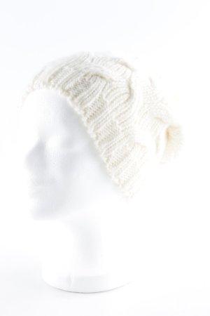 Cappello a maglia bianco sporco punto treccia stile casual