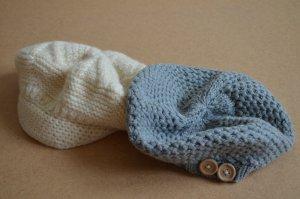 Chapeau en tricot blanc cassé laine vierge