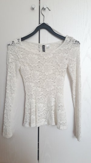 H&M Divided Knitted Jumper white