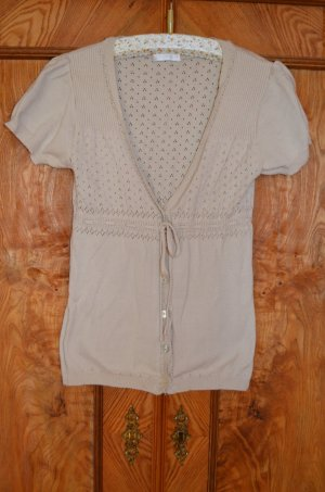Promod Short Sleeve Knitted Jacket cream cotton