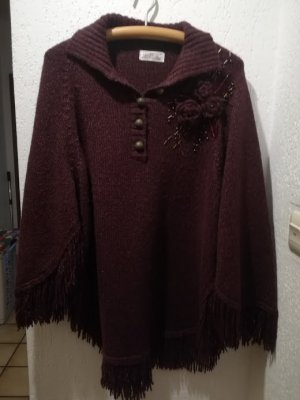 Strickponcho - bordeaux-rot
