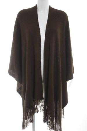 Poncho in maglia marrone stile casual