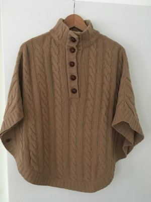 Massimo Dutti Knitted Poncho light brown