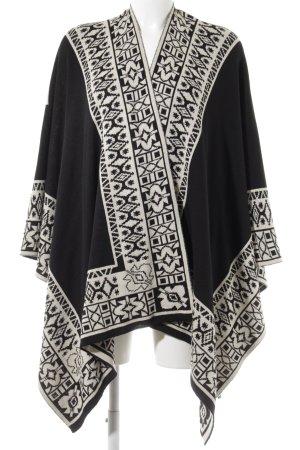 Poncho in maglia nero-crema motivo astratto Stile Boho