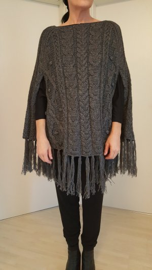 Replay Poncho en tricot gris anthracite tissu mixte