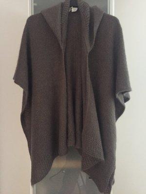 Antonello Serio Gebreide poncho grijs-bruin-taupe