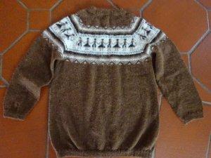 Wollen trui bruin-wolwit Alpacawol
