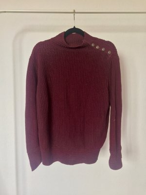 Strickpulli Beckett bordeaux dunkelrot Strick warm Herbst Winter Knöpfe