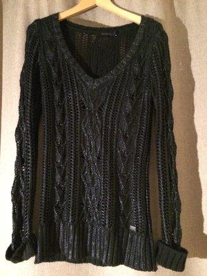 Strickpulli Calvin Klein CK, schwarz, wetlook