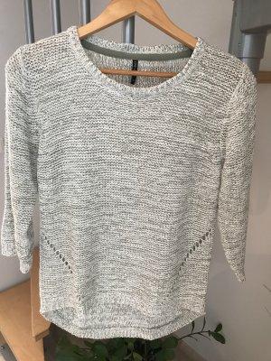 Maglione lavorato a maglia menta-bianco