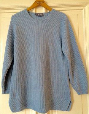 Strickpulli Pullover hellblau Ripped Merinowolle Wool Rippenmuster Trend