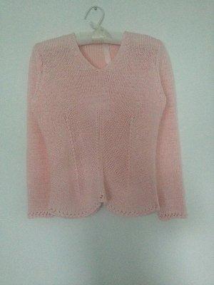 Pull tricoté rosé-vieux rose coton