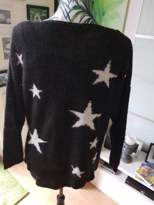 Strickpulli schwarz mit weissen Sterne