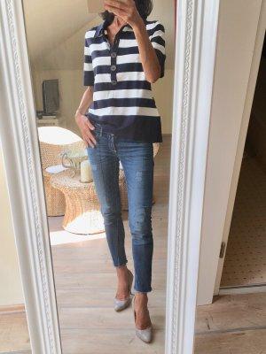 ae elegance Pull tricoté blanc-bleu foncé