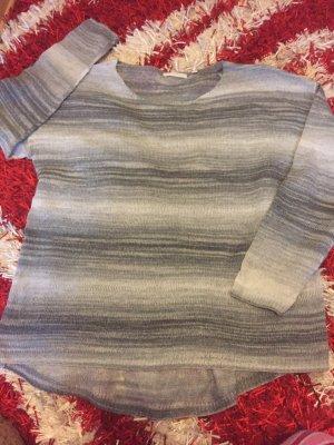 Strickpulli - weiß-grau neu