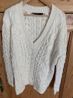 Zara Maglione lavorato a maglia bianco sporco