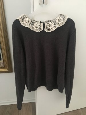 H&M Divided Knitted Sweater dark grey-natural white