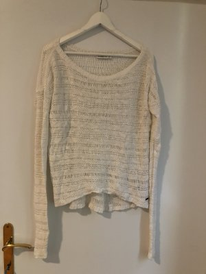Abercrombie & Fitch Crochet Sweater white