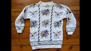 Strickpullover Blumen Flowers Oversize Baumwolle Leinen Zopfmuster Norweger
