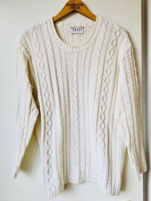 Strickpullover Cremeweiß Zopfstrick Trend Baumwolle Cotton Tuzzi Trend