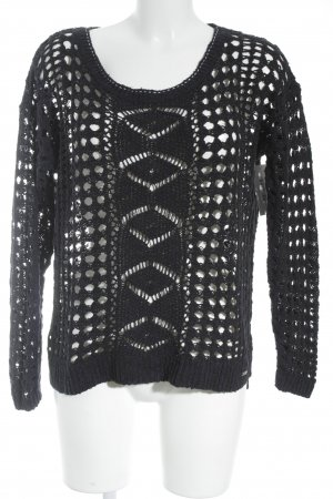 Knitted Sweater dark blue loosely knitted pattern casual look
