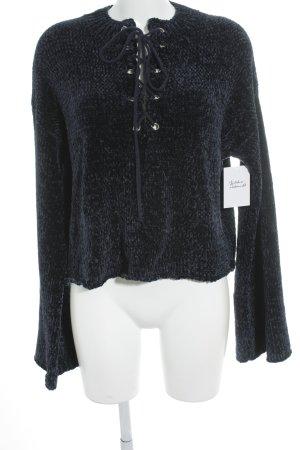 Maglione lavorato a maglia blu scuro effetto velluto