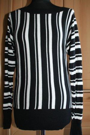 Blind Date Jersey de punto negro-blanco tejido mezclado