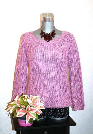 Strickpullover gr. 40/42 Pink Silber Gitter