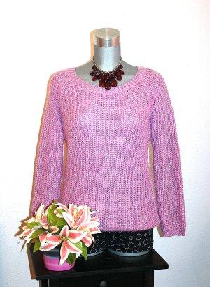 Strickpullover Gr. 40/42 Pink Silber Glitter