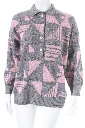 Knitted Sweater grey-pink abstract pattern casual look