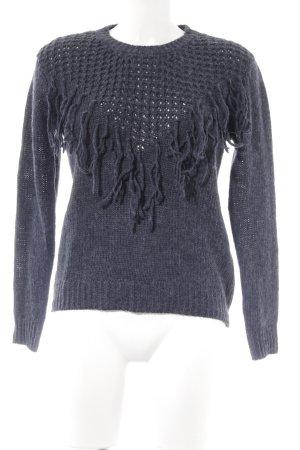 Strickpullover graublau Webmuster Casual-Look