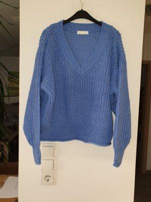 H&M Maglione con scollo a V blu acciaio