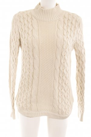 Strickpullover hellbeige Zopfmuster Casual-Look