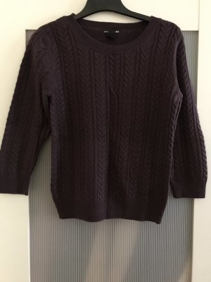 H&M Conscious Collection Wool Sweater grey lilac-brown violet