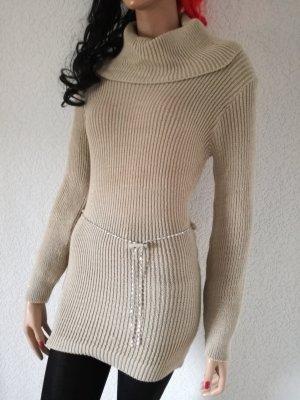 Strickpullover Long Pullover Strick Kleid Gürtelkette Minikleid