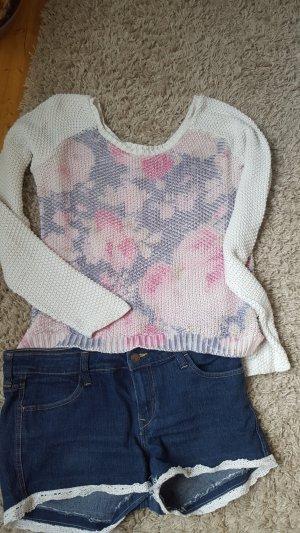 Promod Pull tricoté blanc-vieux rose
