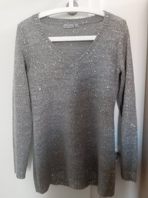 Blue Motion Coarse Knitted Sweater silver-colored-grey mixture fibre