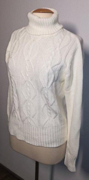 Strickpullover mit Zopfmuster in weiß
