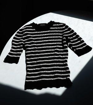 Monki Jersey de manga corta negro-blanco Algodón