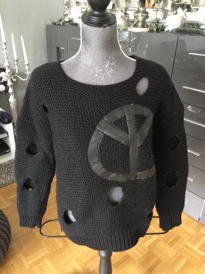 Strickpullover Peace mit Cut Outs schwarz S