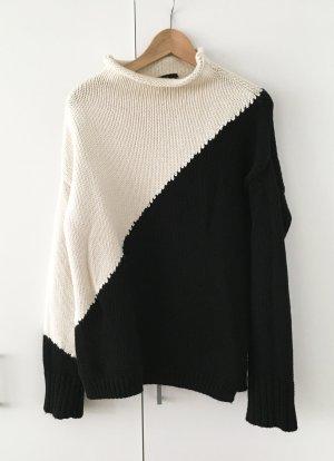 Zara Jersey de punto negro-blanco